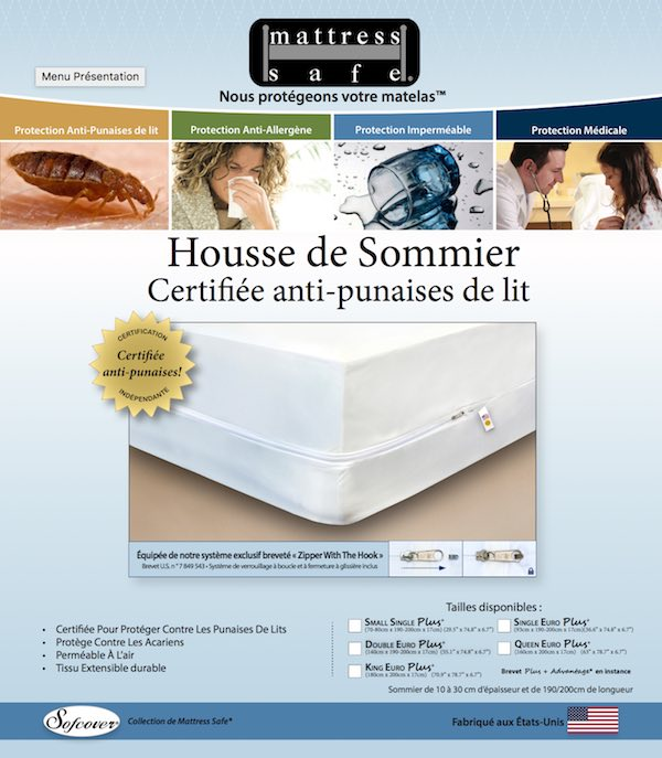 Housse anti punaise de lit sommier mattress safe - Housses anti punaises de lit ...